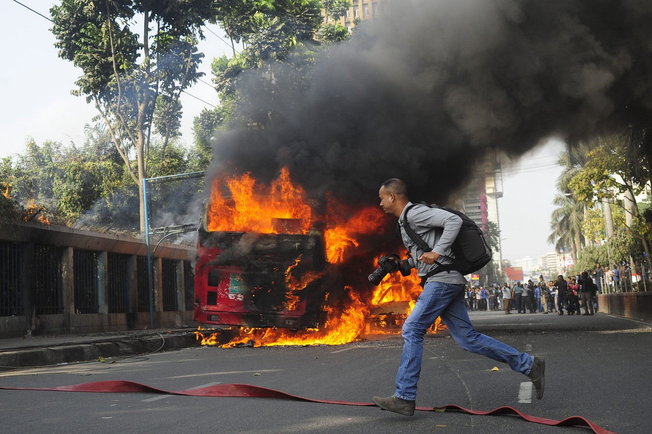 A bus operated by state-owned Bangladesh Road Transport Corp. was set on fire in Dhaka. The opposition called for an indefinite blockade of roads, railways and waterways leading to the capital. ZUMA PRESS