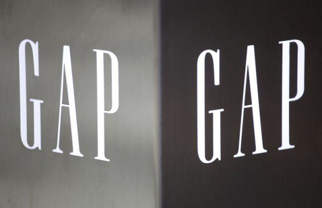 Gap logos are seen outside a Hong Kong's first Gap Store before its opening in the financial Central district in this November 25, 2011 file photo. REUTERS/Tyrone Siu/Files